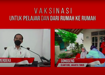 President Jokowi holds a virtual dialogue with door-to-door vaccination participants and vaccinators, Wednesday (14/7). (Source: Presidential Secretariat YouTube)
